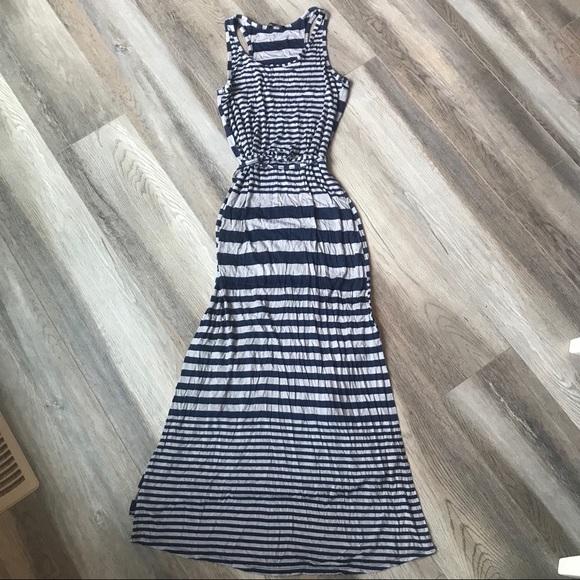 Navy and Grey Stripe Maxi Dress